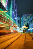 Road light trails on streetscape buildings backgrounds in HongKo Royalty Free Stock Photo