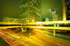 Road light trails on streetscape buildings backgrounds in HongKo Stock Photo