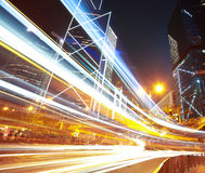 Road light trails on streetscape buildings in HongKong Royalty Free Stock Photos