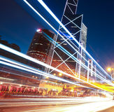 Road light trails on streetscape buildings in HongKong Stock Images