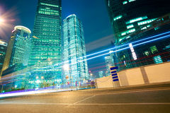 Road light trails on streetscape office buildings in shanghai. City road light trails of streetscape office buildings backgrounds in shanghai Stock Photography