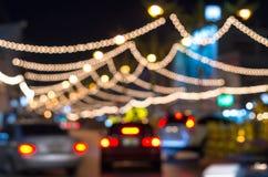 Road lighting decoration,Blurred Photo bokeh Stock Photo