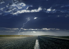 Road and Lightning Stock Images