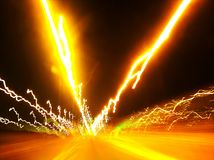 Road Lights in motion stock image