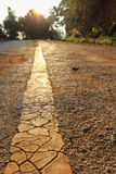 Road line. Yellow road line and sunlight Royalty Free Stock Photography