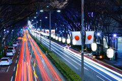 Road Lined with Japanese Flags Royalty Free Stock Images