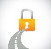 Road and lock. illustration design Stock Photos
