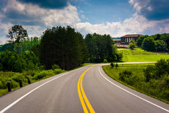 Road and the lodge at Canaan Valley State Park, West Virginia. Royalty Free Stock Photo