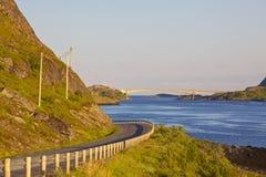 Road on Lofoten. Road leading to a bridge on Lofoten Islands in Norway Royalty Free Stock Photos