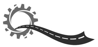 The Road logo. A road logo with a gear wheel royalty free illustration