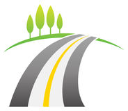 Road Logo. A road with green tree logo icon royalty free illustration
