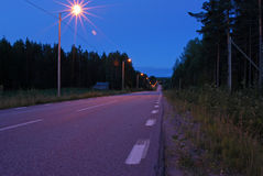 Road. Lonely country road with street lights Royalty Free Stock Photography