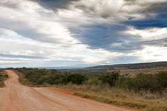 The Road is Long in Addo. Addo is a town in Sarah Baartman District Municipality in the Eastern Cape province of South Africa. Region east of the Sundays River Stock Photo