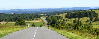 Road in the Lozere mountains Royalty Free Stock Photos