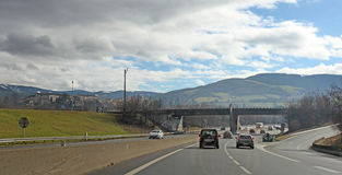 Road Lyon Saint Etienne Rhone Alpes region, France. Stock Photography