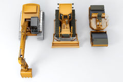 Road machinery. Group road machinery for road construction. Top view. On grey Stock Photography