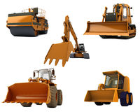 Road machinery. Group Road machinery isolated on white background Royalty Free Stock Images