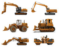 Road machinery. Group Road machinery isolated on white background Stock Photo