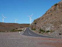 Road in Madeira with wind power Royalty Free Stock Photos