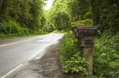 Road with mailboxes in Ketchikan Alaska stock images