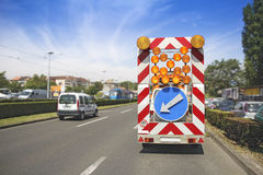 Road maintenance car signal Royalty Free Stock Images