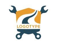 Road maintenance. Logo road repair. Logotype transportation road Royalty Free Stock Photo