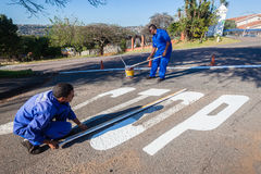 Road Maintenance Painting Stock Photo
