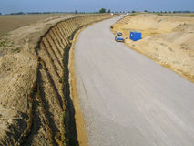 Road making. New construction of a country road in Germany Stock Photo