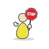 Road Man holding a stop sign - Maintenance - No way. A figure is holding a stop sign - there is no way ahead - Road Maintenance stock illustration