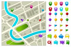 Road Map. Illustration of road map with gps icon set on white background Stock Photo