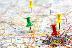 Road map. Indications of the route on a road map Royalty Free Stock Image
