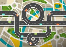 Road Map Aerial View with Cars on Highway and Streets. Road Map Aerial View with Cars on Highway and City Streets vector illustration