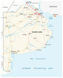 Road map of the Argentine province of Buenos Aires Royalty Free Stock Photo