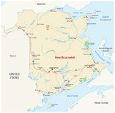 Road map of the atlantic canada province new brunswick Royalty Free Stock Images