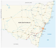 Road map of the Australian state New South Wales map.  Stock Image