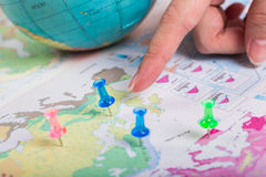 Road map, Blue pushpin the location of destination on a map. Royalty Free Stock Photo