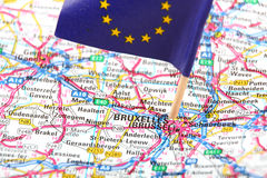 Road map of Brussels, Belgium. Close up of a road map of Brussels, Belgium Royalty Free Stock Photo