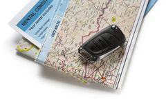 Road map and car key Royalty Free Stock Images