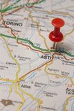 Asti pinned on a map of Italy. Road map of the city of Asti Italy Royalty Free Stock Photography