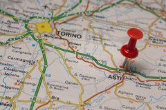 Asti pinned on a map of Italy. Road map of the city of Asti Italy Stock Image
