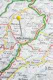 Bolzano pinned on a map of Italy Royalty Free Stock Photos