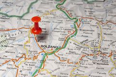 Bolzano pinned on a map of Italy Royalty Free Stock Photography