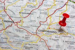 Campobasso pinned on a map of Italy. Road map of the city of Campobasso Italy Royalty Free Stock Photos