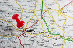 Cuneo pinned on a map of Italy. Road map of the city of Cuneo Italy Stock Image