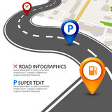 Road map city infographic with colorful pins pointer. Road street navigation perspective map template Royalty Free Stock Photography