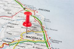 Macerata pinned on a map of Italy. Road map of the city of Macerata Italy royalty free stock image