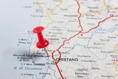 Oristano pinned on a map of Italy. Road map of the city of Oristano Italy royalty free stock photo
