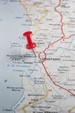 Oristano pinned on a map of Italy. Road map of the city of Oristano Italy royalty free stock photos