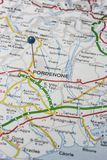 Pordenone pinned on a map of Italy. Road map of the city of Pordenone Italy Stock Photo