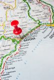 Savona pinned on a map of Italy. Road map of the city of Savona Italy Royalty Free Stock Photo